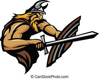 Viking Norseman Mascot Stabbing wit - Nordic Viking or...