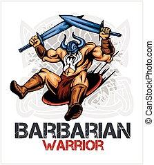 viking, norseman, mascota, caricatura, con, dos, espadas
