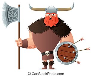 Viking on White - Cartoon Viking over white background. No...