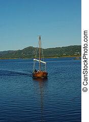 viking, oud, reproductie, scheepje