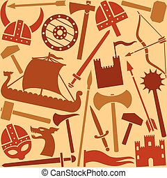 viking, padrão, seamless, ícones