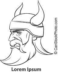 viking, perfil, cabeza, enojado