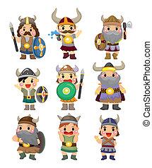 viking, pirata, conjunto, caricatura, icono