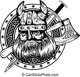 viking, plank, zwaard, bijl