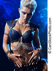 viking - Portrait of a beautiful female warrior. Ancient...