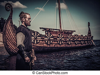 viking, posición, guerrero, costa, drakkar