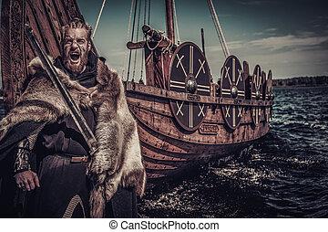 viking, posición, guerrero, costa, espada, drakkar