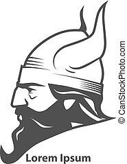 viking, profil, huvud, driva