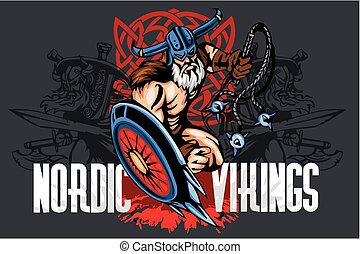 viking, protector, bludgeon, norseman, caricatura, mascota