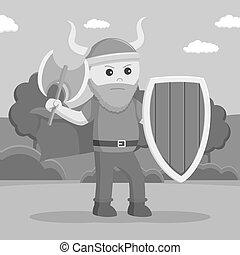 viking, protector, wield, grasa, soldado, hacha