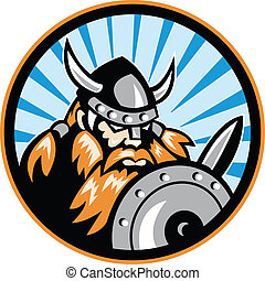 Viking Raider Barbarian Warrior Retro - Illustration of a...