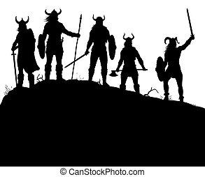 Viking raiders silhouette - Editable vector silhouettes of a...