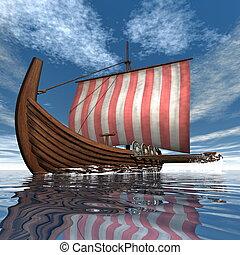 viking, render, -, bateau, 3d, ou, drakkar