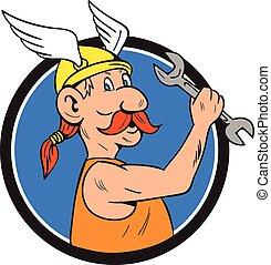 Viking Repairman Spanner Circle Cartoon