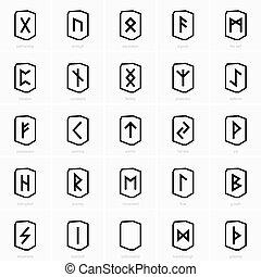 viking, runes, icônes