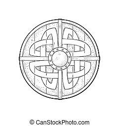 viking, runes., pajzs, szüret, metszés, vektor, fekete, erdő, kerek