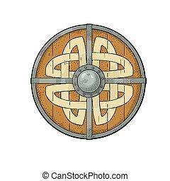 viking, runes., védőlemez elpirul, szüret, metszés, vektor, erdő, kerek