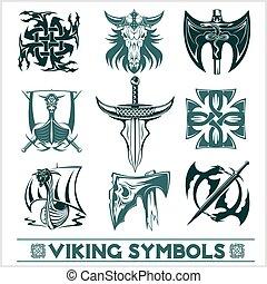 viking, símbolos, conjunto, vector., iconos