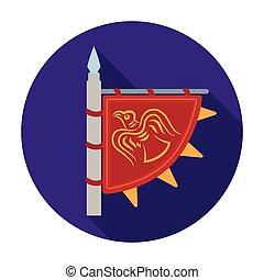 Viking s flag icon in flat style isolated on white background. Vikings symbol stock vector illustration.