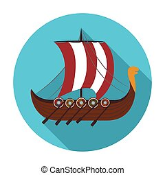 Viking s ship icon in flat style isolated on white background. Vikings symbol stock vector illustration.