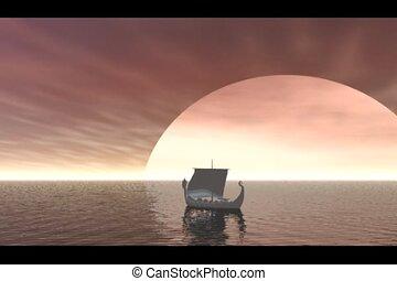 viking schip, zeilend