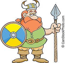 viking, scudo, presa a terra, cartone animato