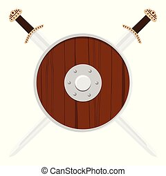 viking, scudo, spada