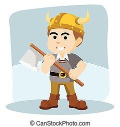 viking, segurando, ilustração, machado