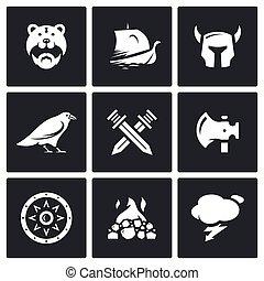 viking, set, guerriero, nave, protezione, icons., arma, battaglia, vettore, munizioni, dio, weather., sepoltura