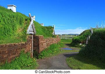 Viking settlement - Ancient homes of Viking settlers in...