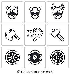 viking, shield., セット, ハンマー, メース, icons., 武器, ベクトル, ヘルメット, 頭, 人, おの