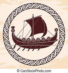 viking, shields., barco, remos