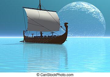 VIKING SHIP 2 - Beautiful glistening waters of the ocean...