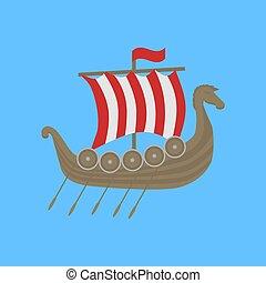 Viking ship Drakkar. Welcome to Norway poster. Historic...
