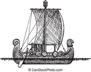 Viking ship - Vector vintage illustration of Viking ship