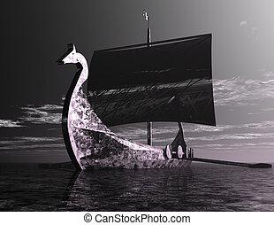 Viking Ship - Digital Illustration of a Viking Ship