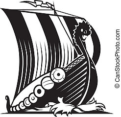 Viking Ship - A dragon headed viking ship cutting through...