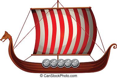 Viking ship - Illustration of a viking ship with sails