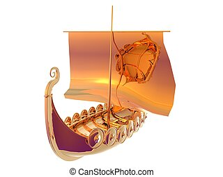 Viking Ship Gold - 3D illustration of a golden viking ship...