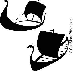 Viking ship icon. Longship. Isolated on white.