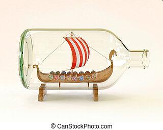 viking ship in glass bottle  3d illustration