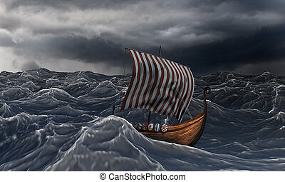 Viking ship on the dramatic wavy sea in the storm. Drakkar...