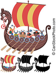Viking Ship on White - Cartoon Viking ship in 4 versions. No...