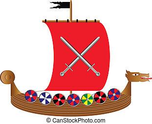 Viking ship on white - Vector illustration of a drekar...