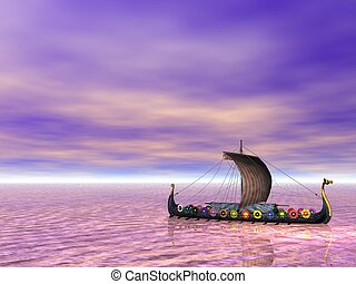 Viking ship, or drakkar, sailing on the sea