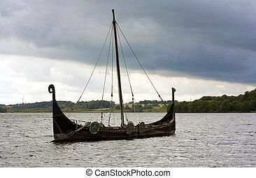 Viking Ship - Danish viking ship model on a lake in Jutland