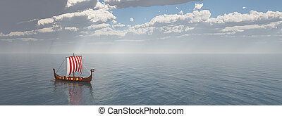 Viking ship - Computer generated 3D illustration with a...
