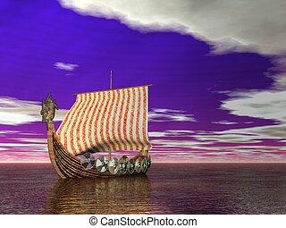 Viking Ship - Viking ship sailing on a surreal scene