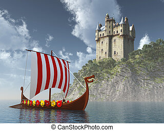 Viking ship - Computer generated 3D illustration with...