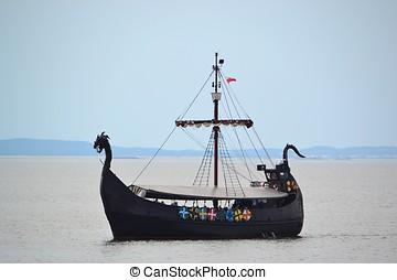 Viking ship on the Polish Baltic coast